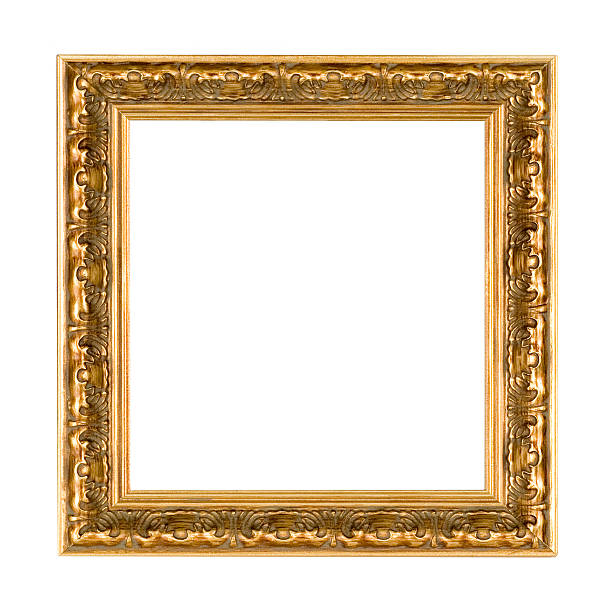 Antique Square Gold Picture Frame stock photo