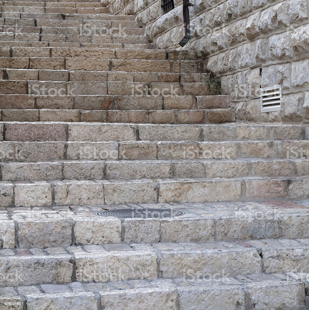 Antique stairway Old city Jerusalem Israel royalty-free stock photo