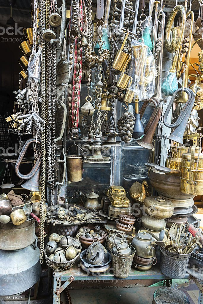 Antique Stall at the Chor Bazaar (Thieves' Market) stock photo