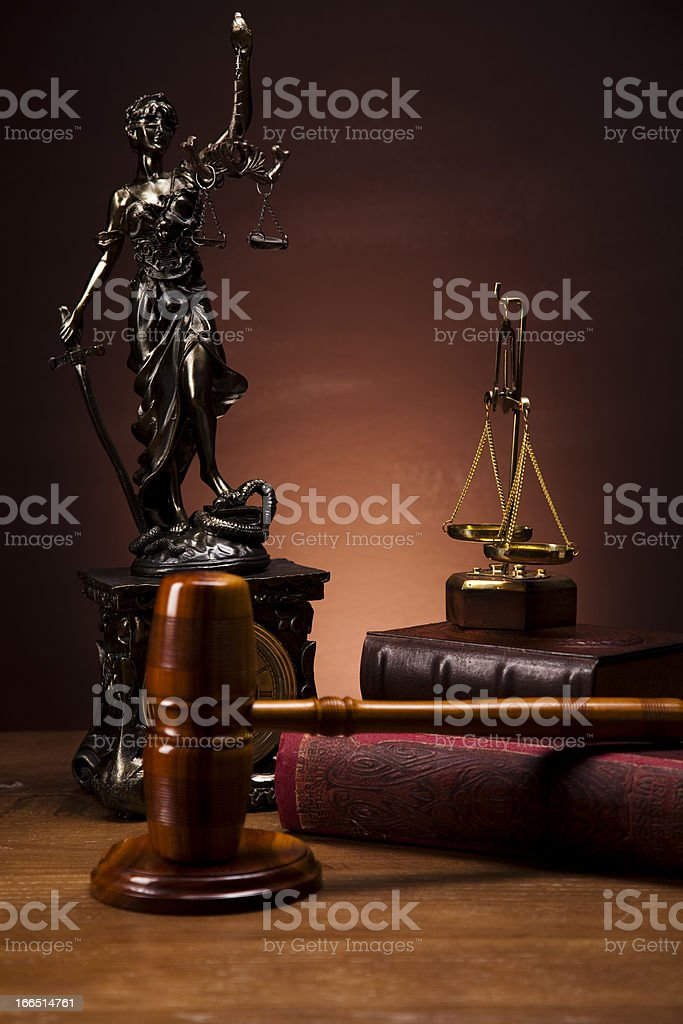 Antique statue of justice, law royalty-free stock photo