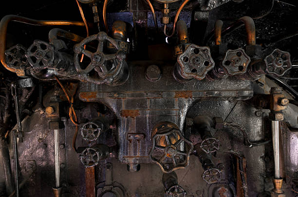 antique steam locomotive cocpit knobs - mahroch stock pictures, royalty-free photos & images