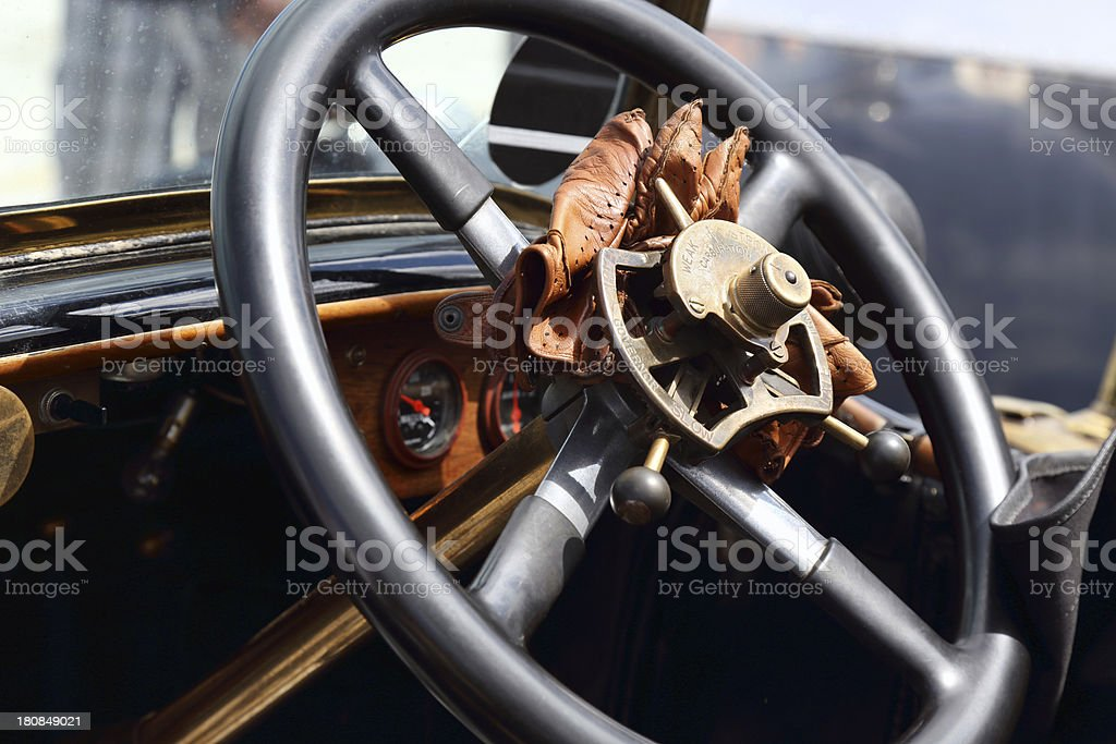 Antique steering wheel royalty-free stock photo