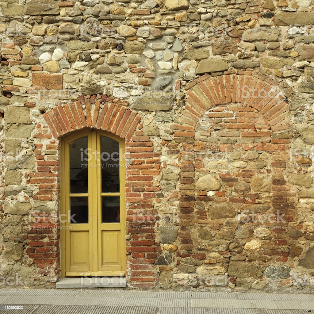 antique stonewall and door royalty-free stock photo