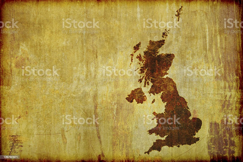 Antique Style Map of Great Britain stock photo