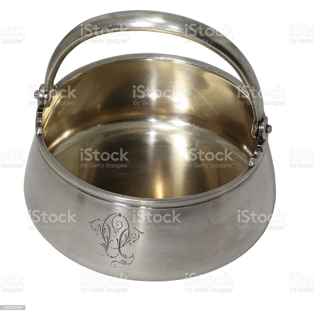 Antique sugar bowl from silver stock photo