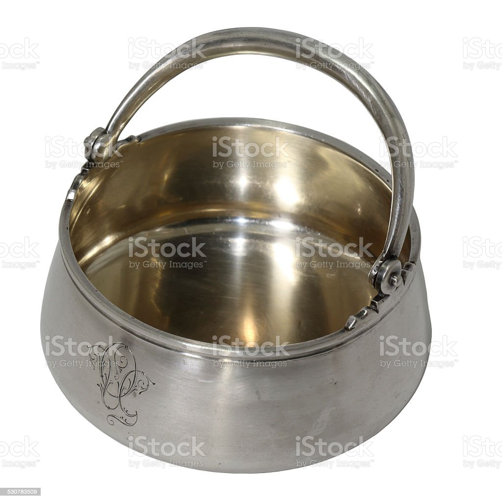 Antique sugar bowl, silver, work of the master PJS stock photo