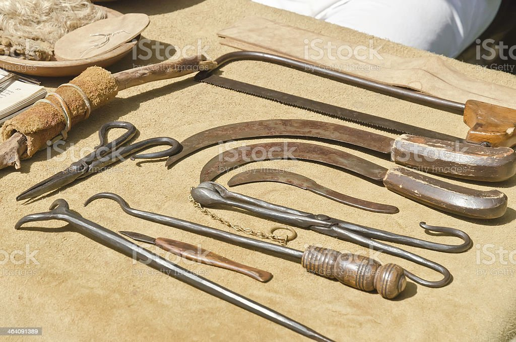 Antique surgical instruments stock photo