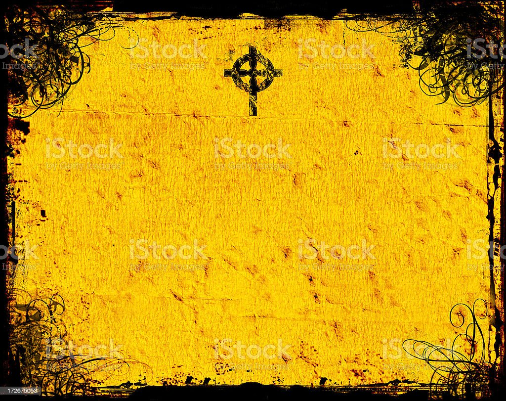 Antique Swirly Grunge with Celtic Cross  - Background stock photo