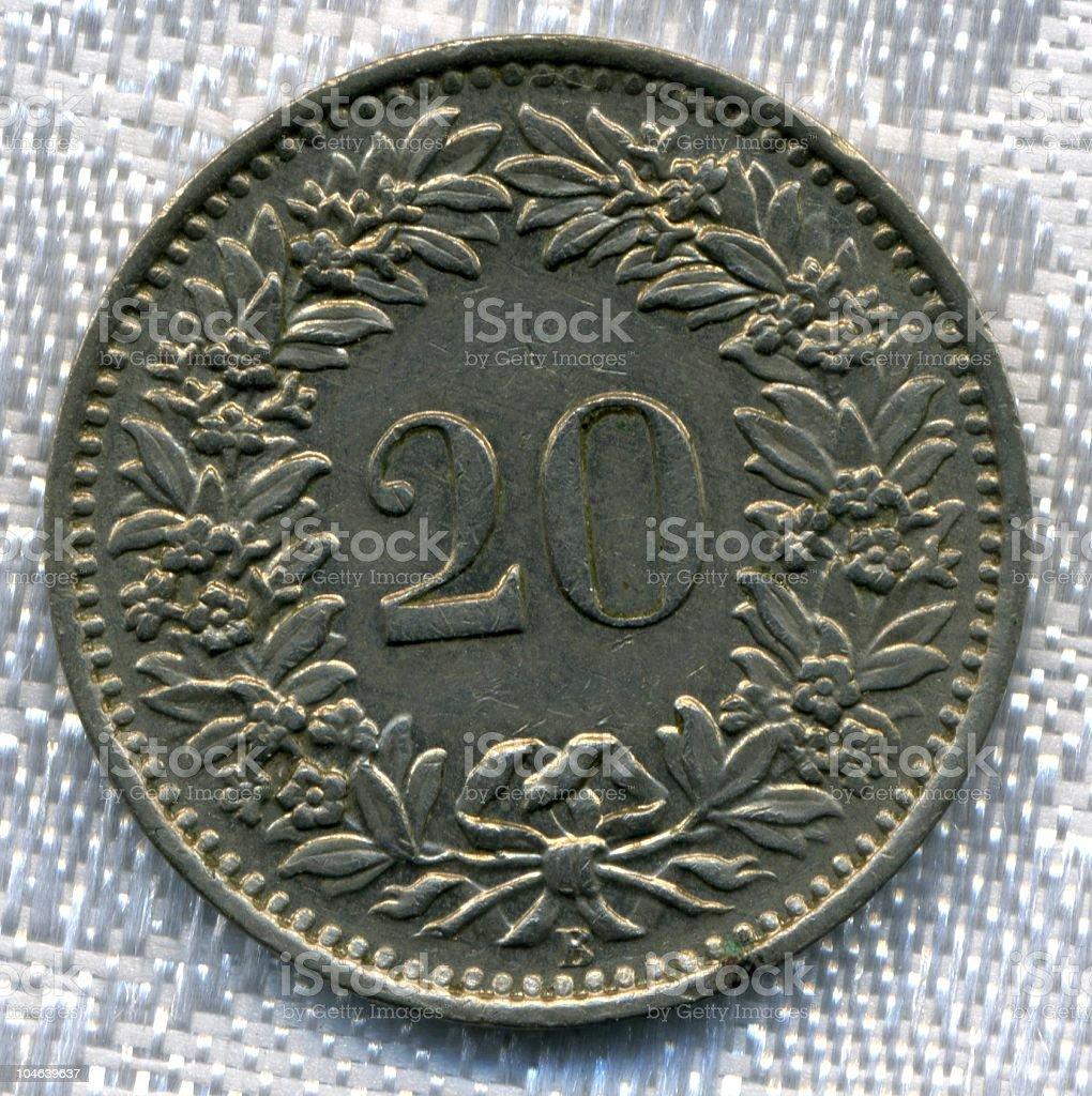 Antique Switzerland Coin Circa 1955 Swiss Man Made Artifact stock photo