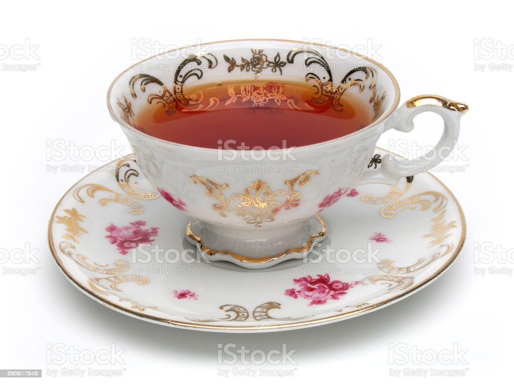 Antique tea cup stock photo