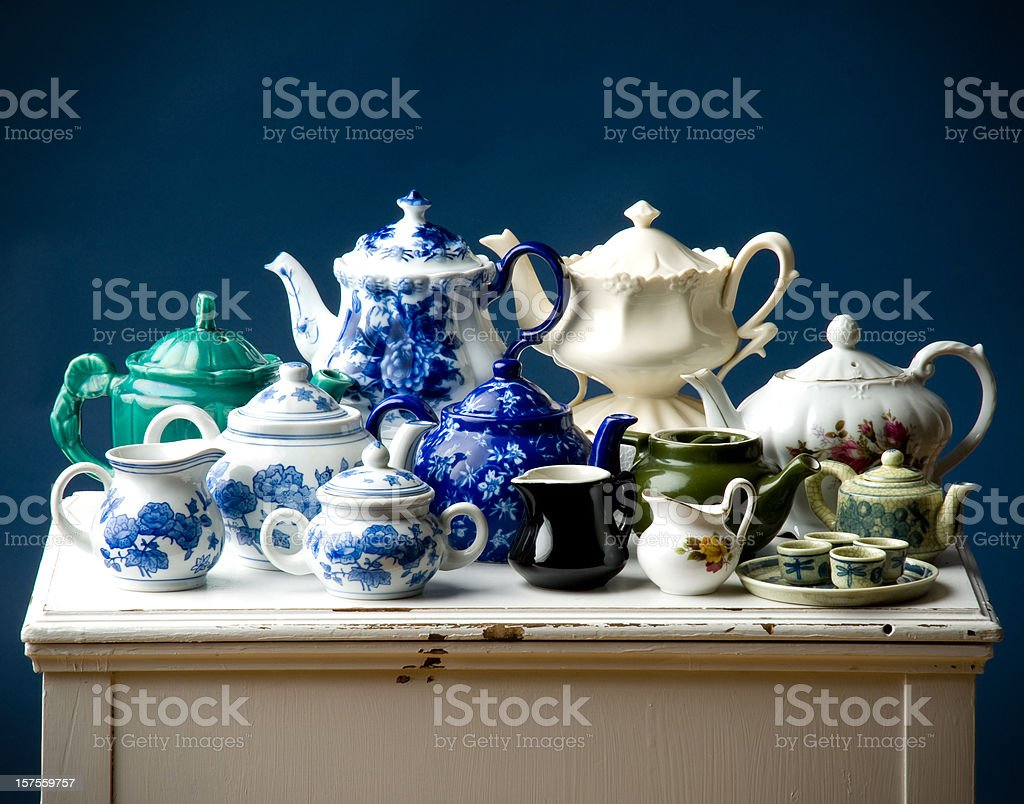 Antique Teapots stock photo