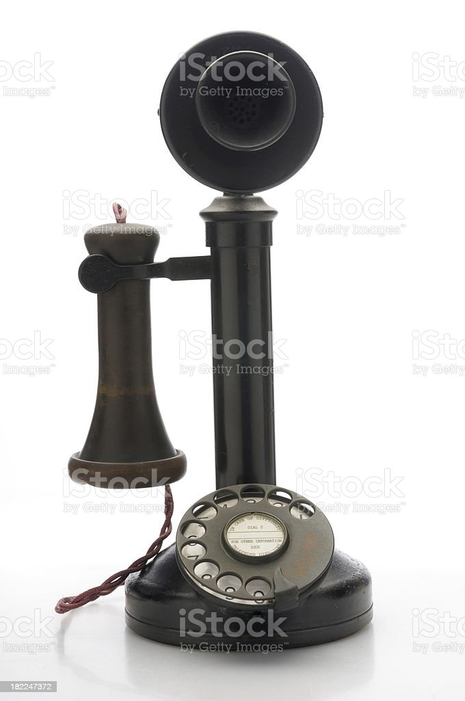 Antique telephone frontal view stock photo