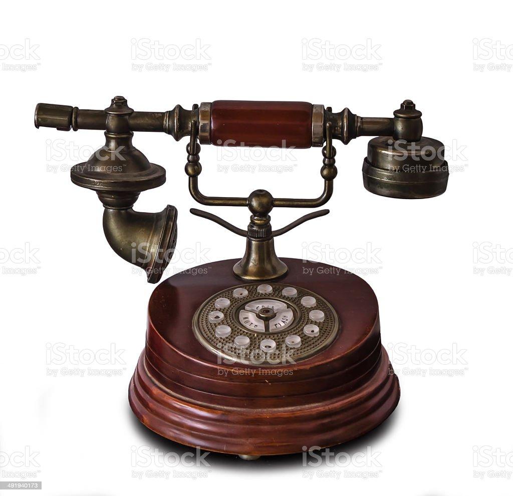 Antique telephone isolated stock photo