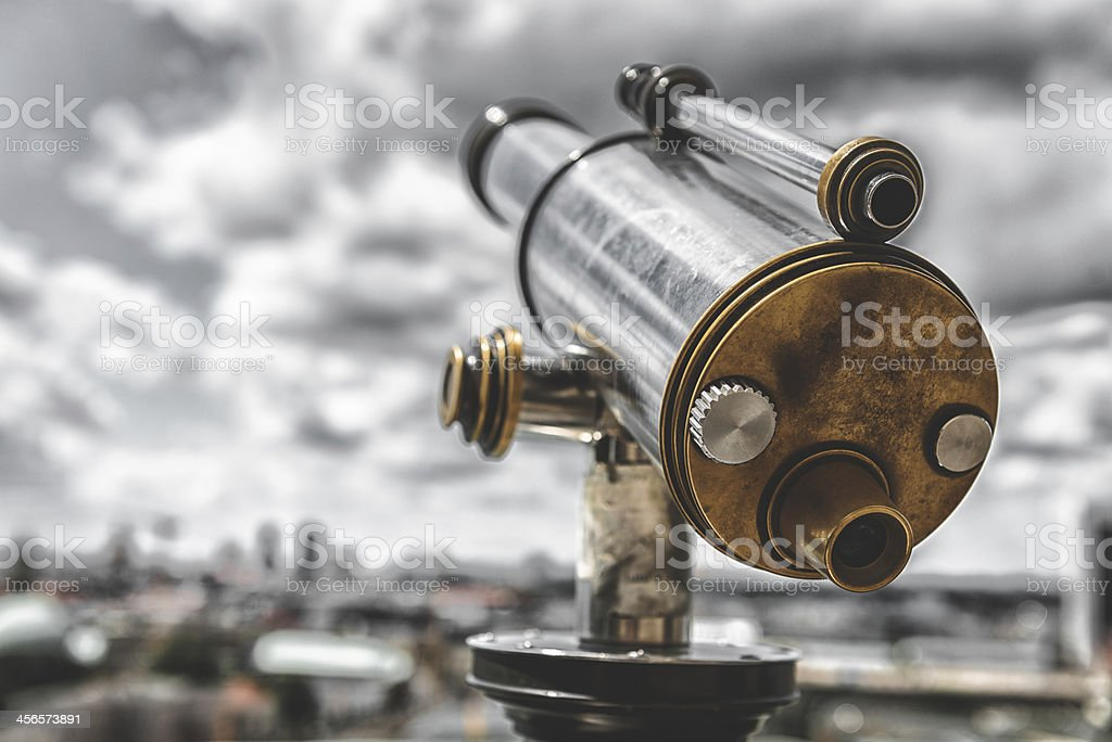antique telescope stock photo