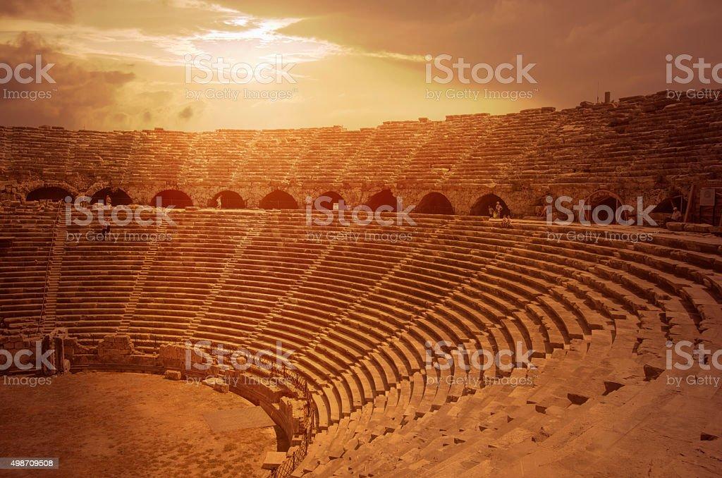 antique theatre ruins from Antalya, Turkey stok fotoğrafı