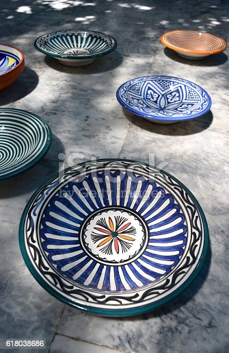 istock Antique traditional  Moroccan dishes bright colors 618038686
