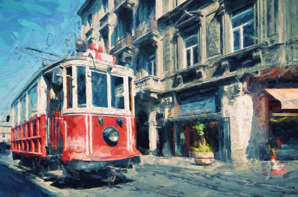 antique tram in istiklal avenue, beyoglu, istanbul - impressionist painting stock photos and pictures