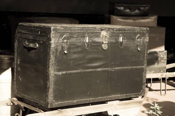 Antique Traveling Trunk On Railroad Platform stock photo