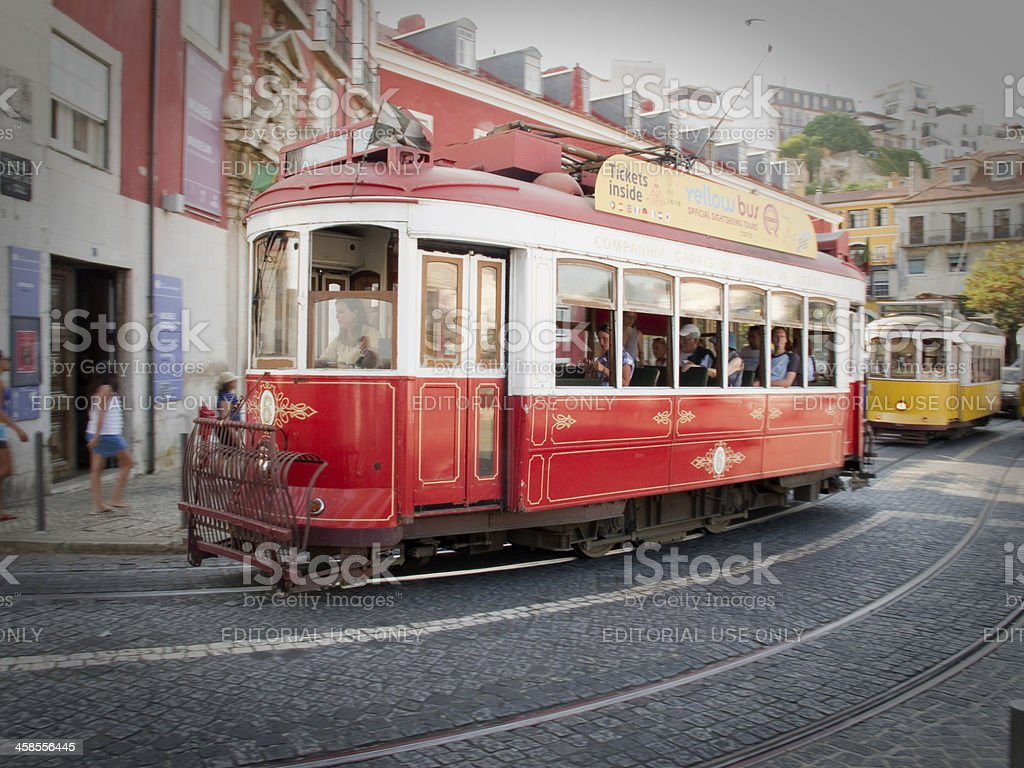 Antique trolley cars in old town Lisbon Portugal royalty-free stock photo