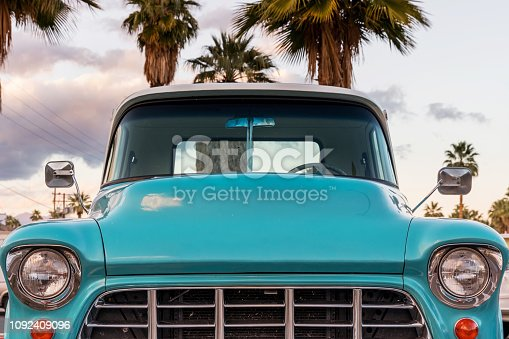 An antique truck in a hotel parking lot near downtown Palm Springs.