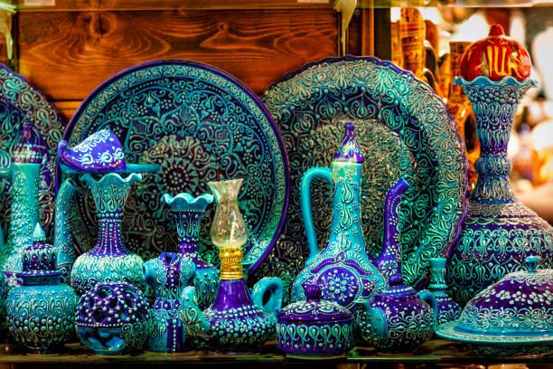 Antique Turkish ceramics at Istanbul Grand Bazaar stock photo
