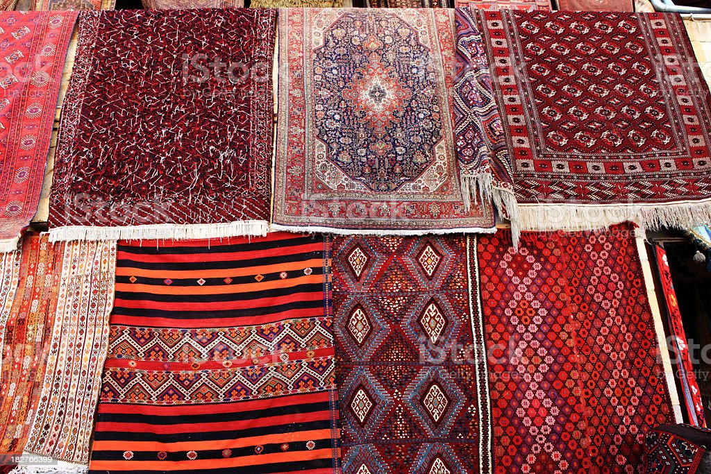 Antique Turkish Oriental Carpets, Rugs and Kilims Goreme Cappado stock photo