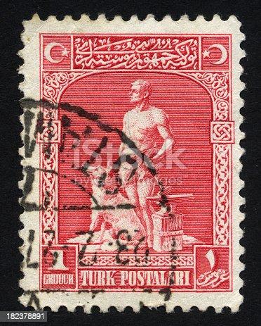 istock Antique Turkish Postage Stamp 182378891