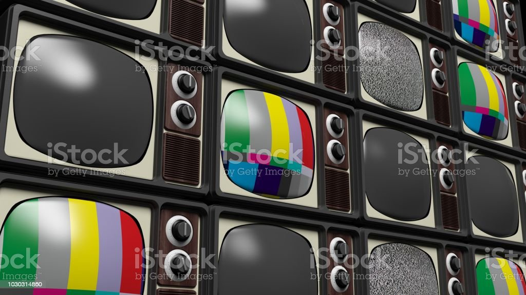 Antique TV sets background. 3D rendering stock photo