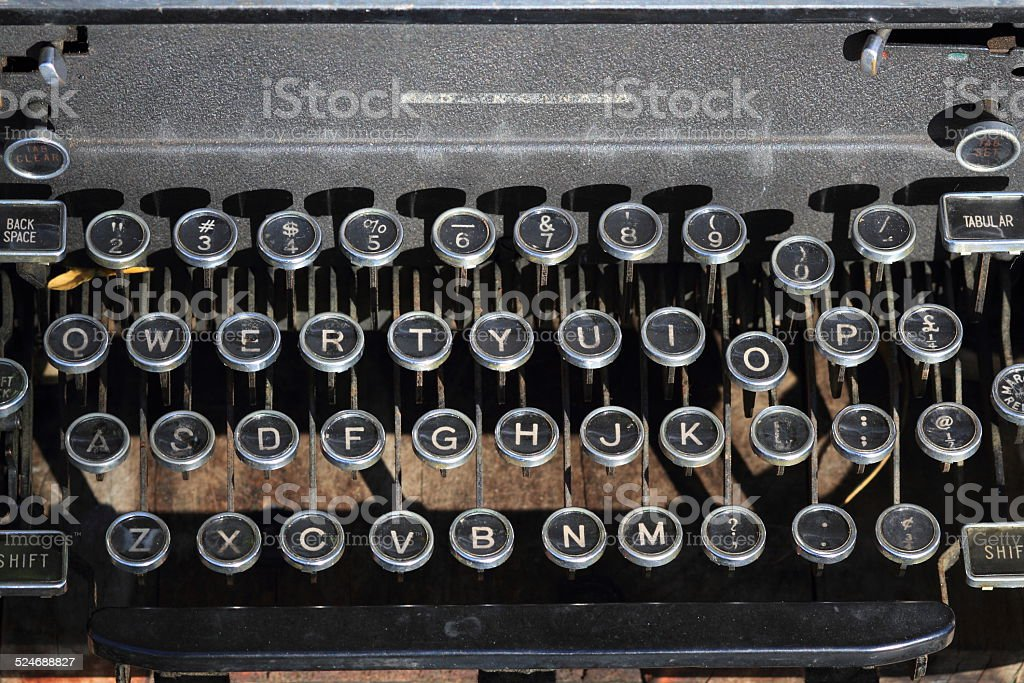 Antique Type Writer Keys stock photo