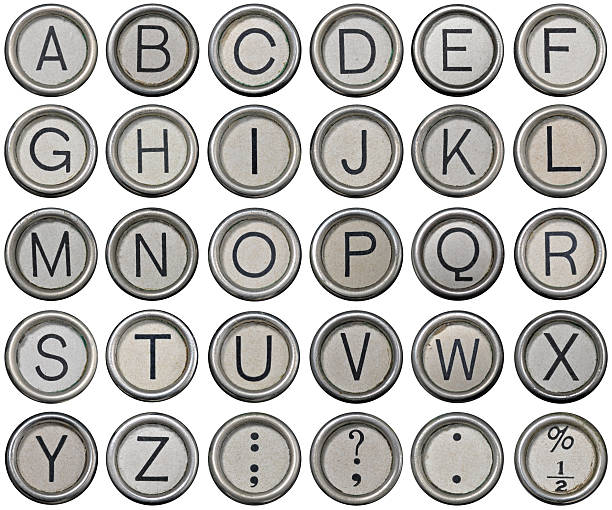 Antique Typewriter Alphabet Keys stock photo