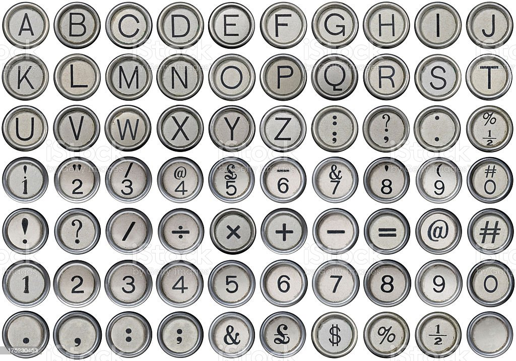 Antique Typewriter Alphabet, Numbers & Symbols stock photo