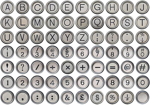 Antique Typewriter Alphabet, Numbers & Symbols stock photo