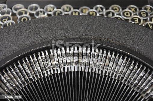 Close up of antique typewriter background