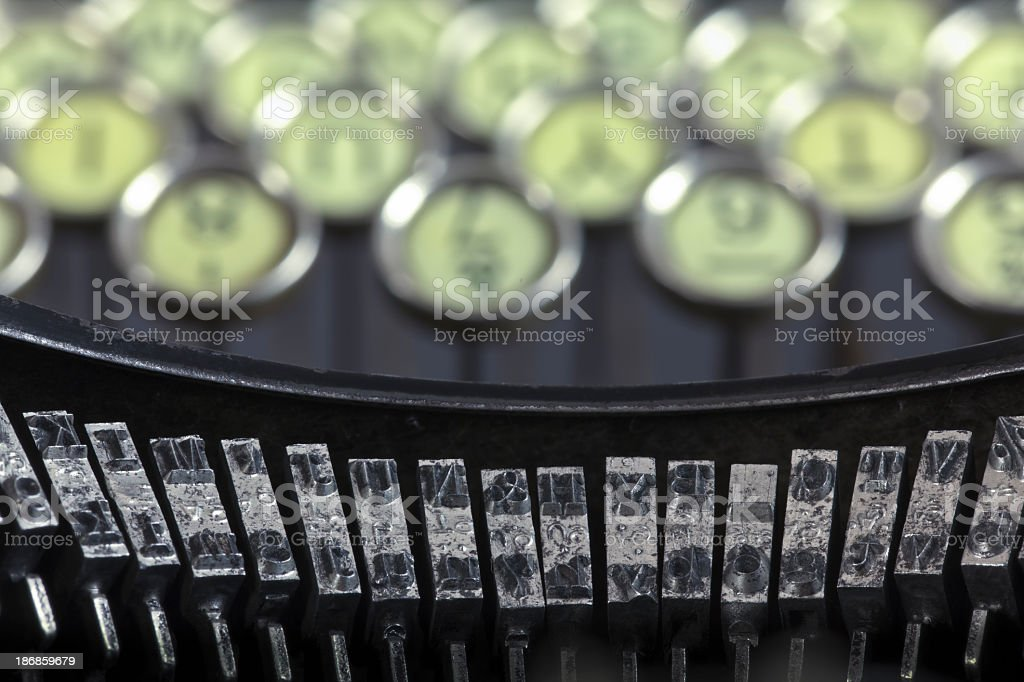 Antique Typewriter Keyboard and Hammers stock photo