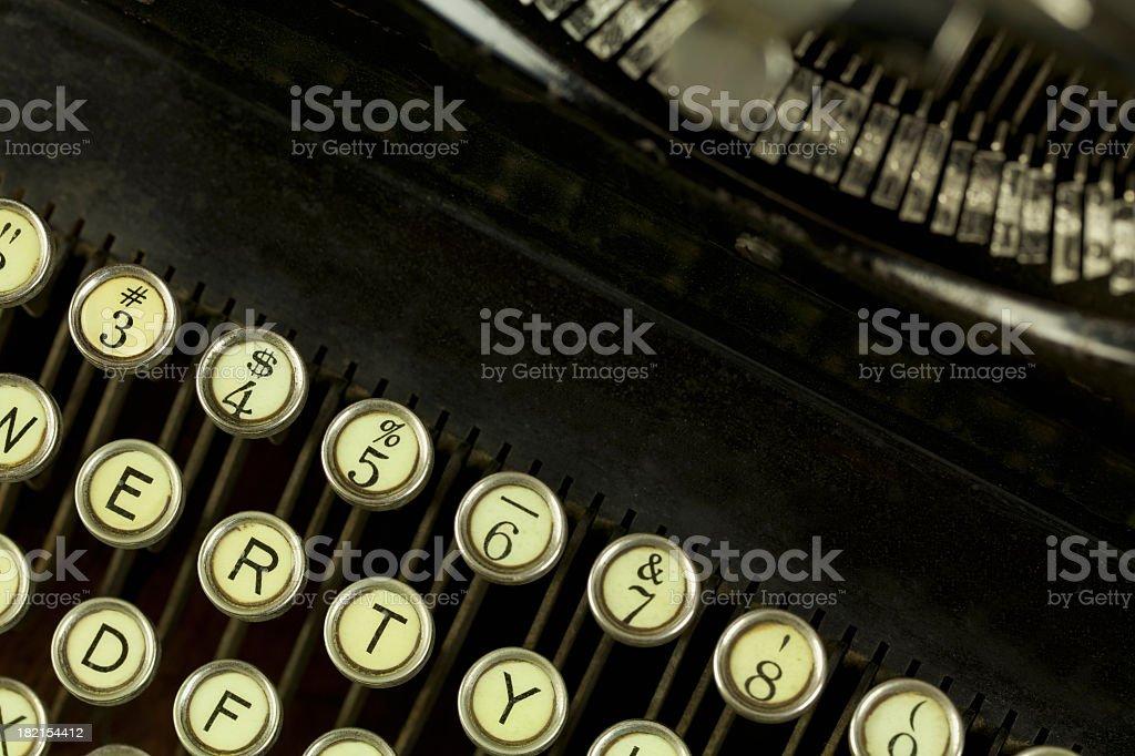 Antique Typewriter Keyboard Closeup stock photo