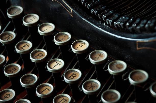 Antique typewriter keys close up stock photo