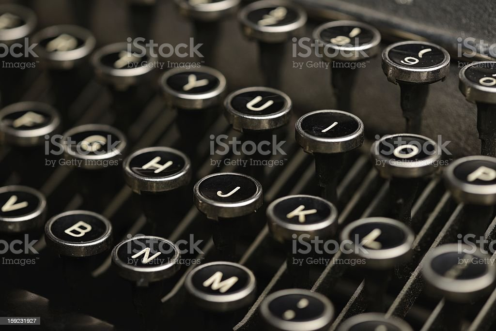 Antique typewriter keys stock photo