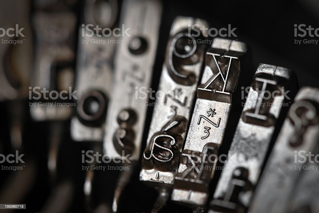 Antique typewriter macro close up letters royalty-free stock photo