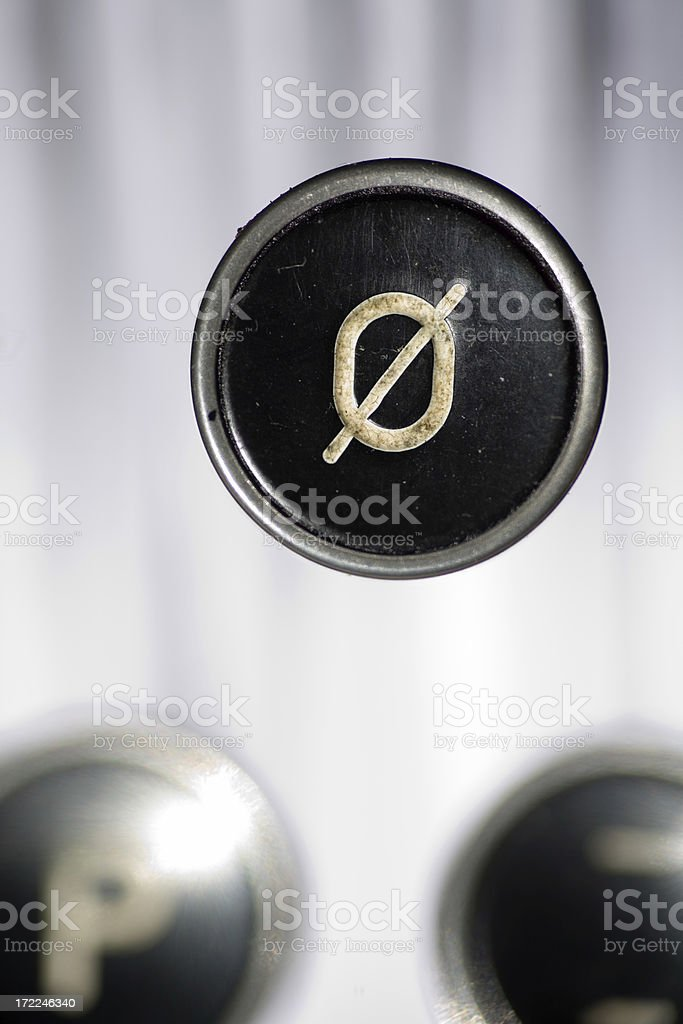 Antique Typewriter Number 0 royalty-free stock photo