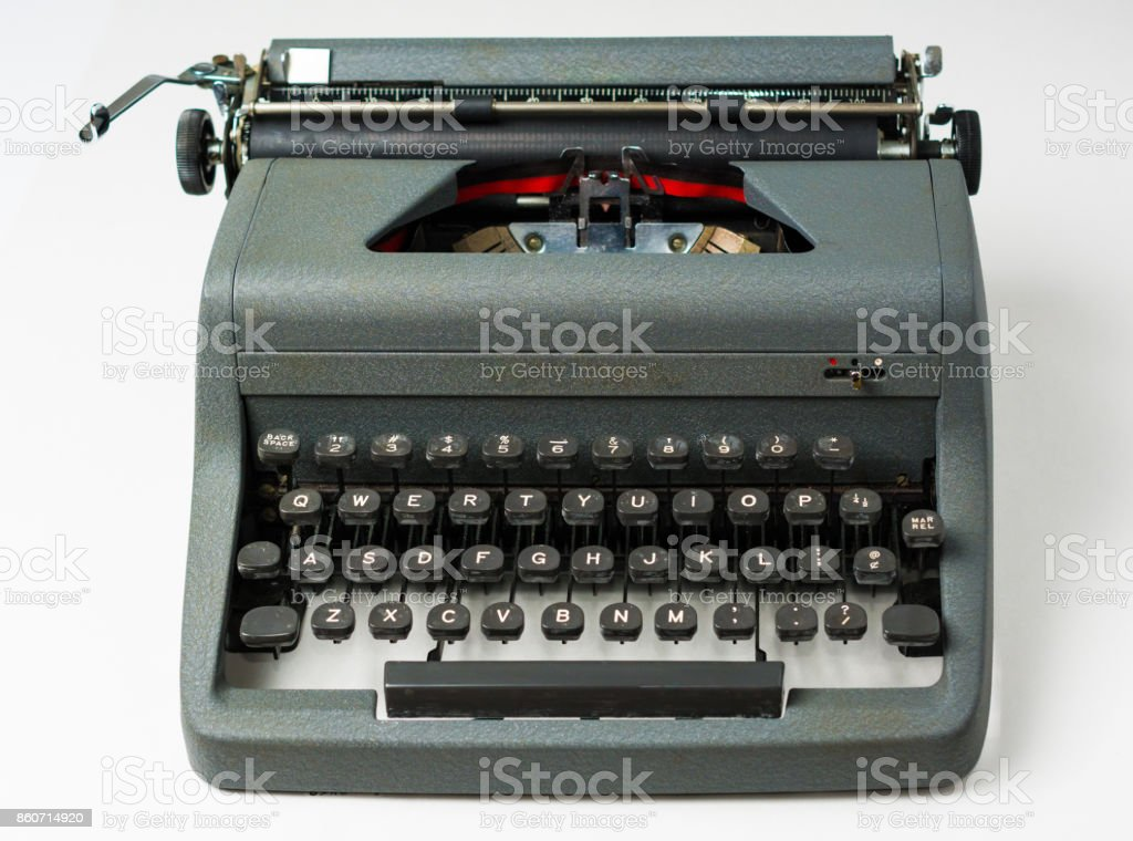 Antique Typewriter on White Background in Perspective stock photo