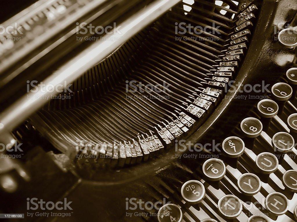 Antique Typewriter - sepia tone stock photo