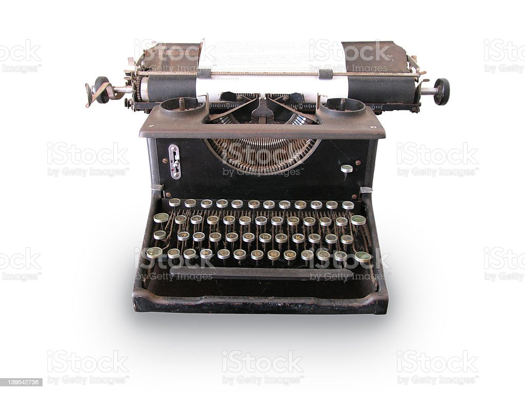 Antique Typewriter with Path royalty-free stock photo