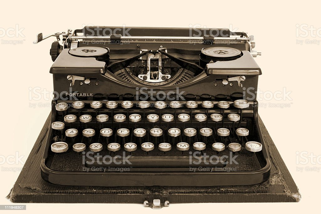 Antique typewriter with sepia effect royalty-free stock photo
