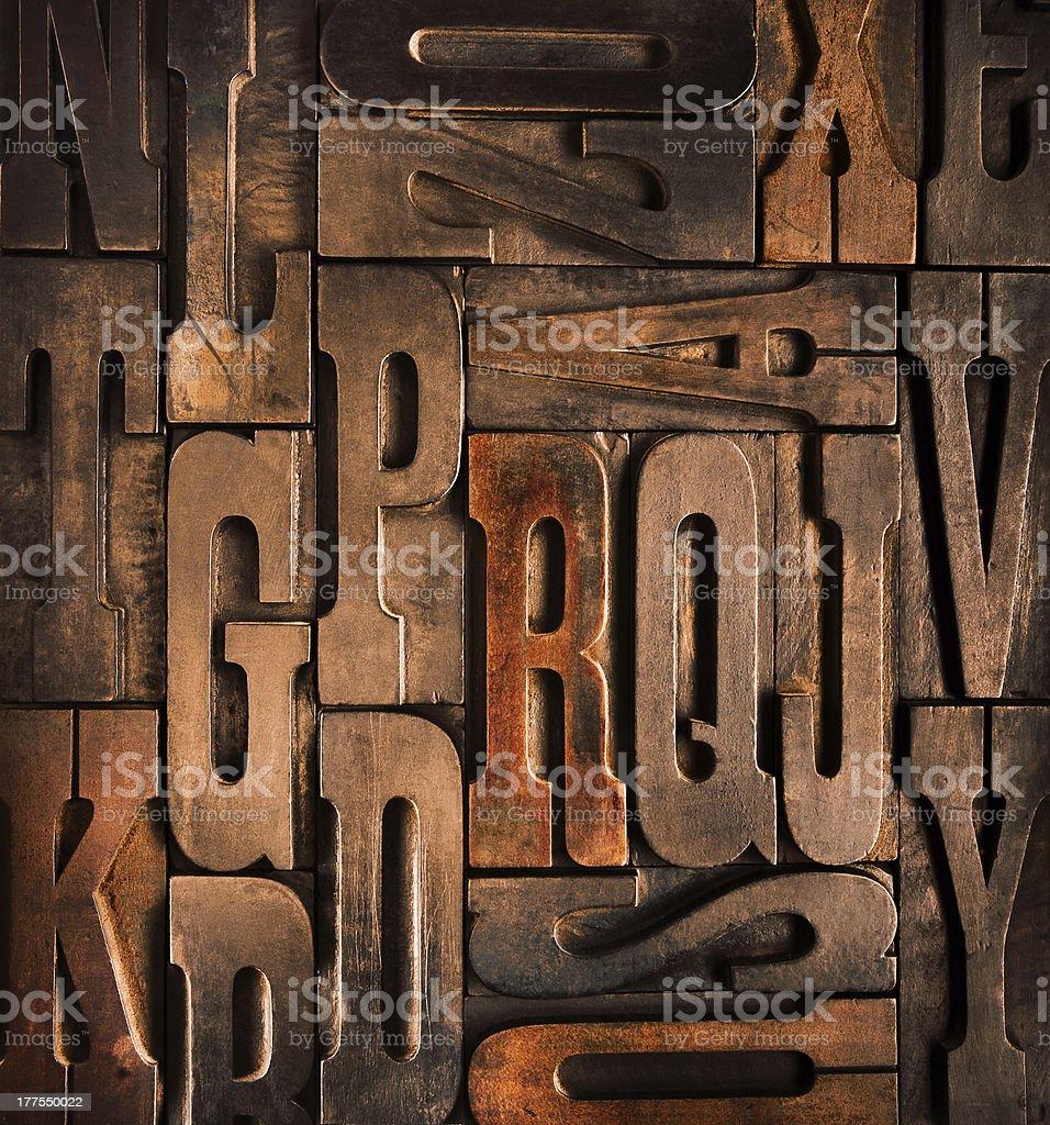 antique typographic blocks stock photo
