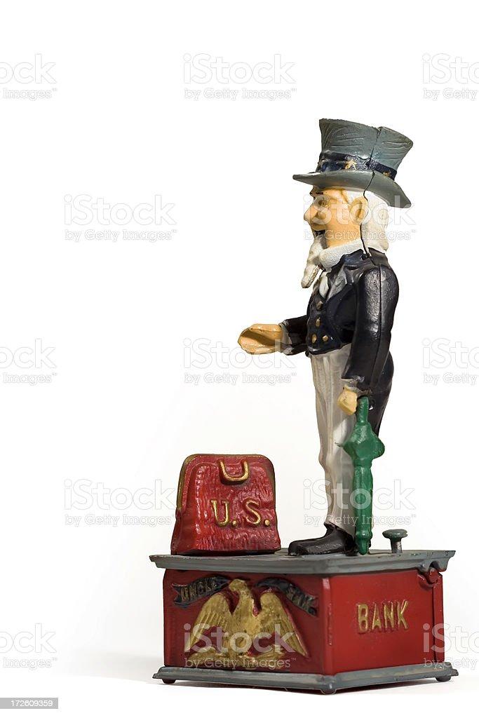 Antique Uncle Sam Bank Profile stock photo