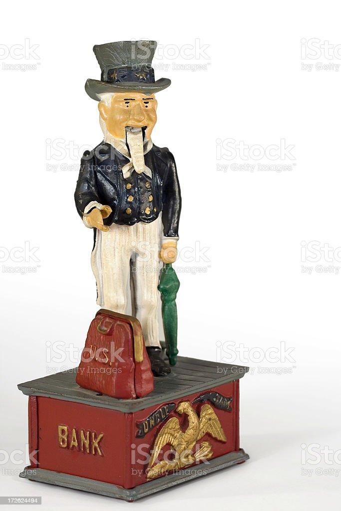 Antique Uncle Sam Mechanical Bank stock photo