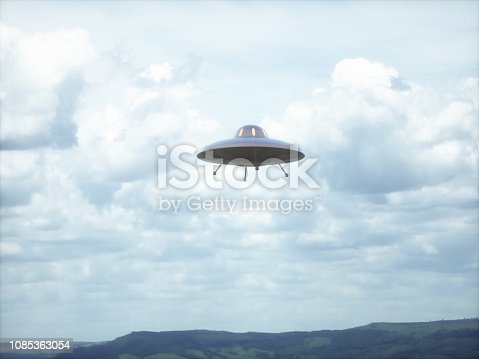 Unidentified flying object. Unidentified object with retro style, old design.