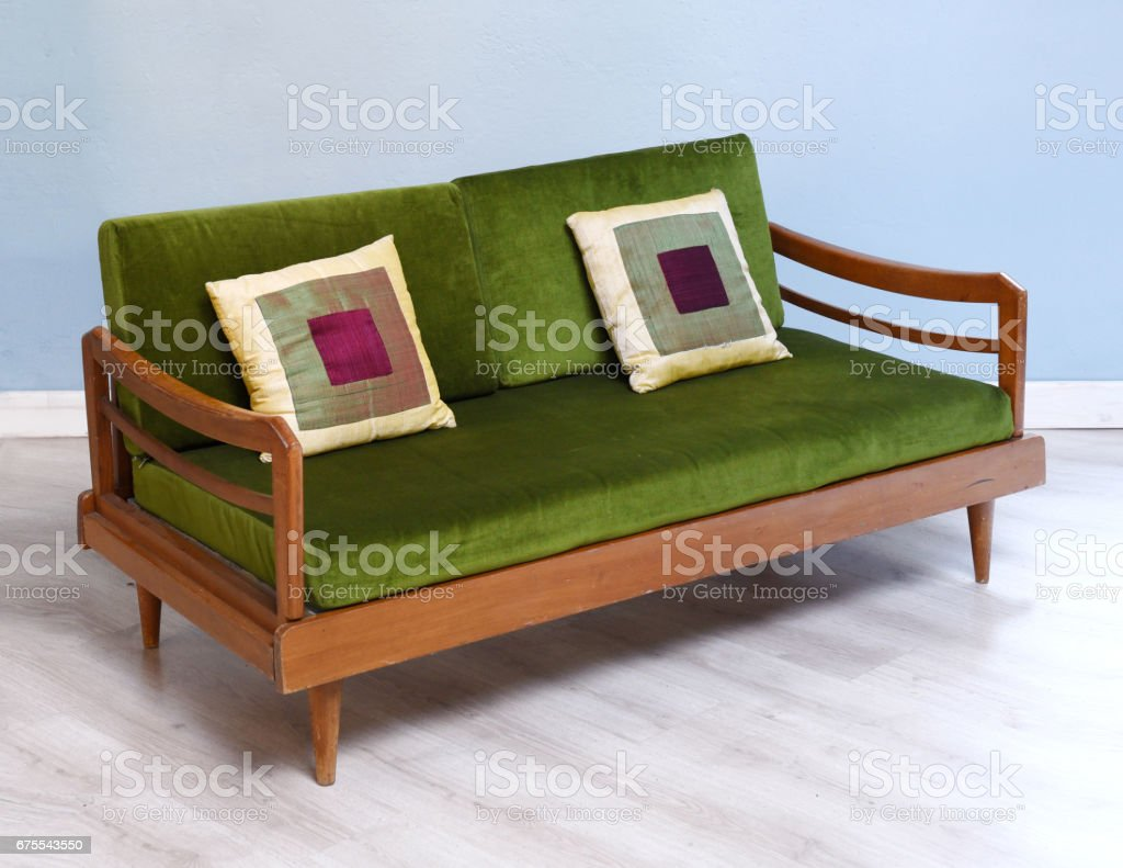 Antique upholstered settee royalty-free stock photo