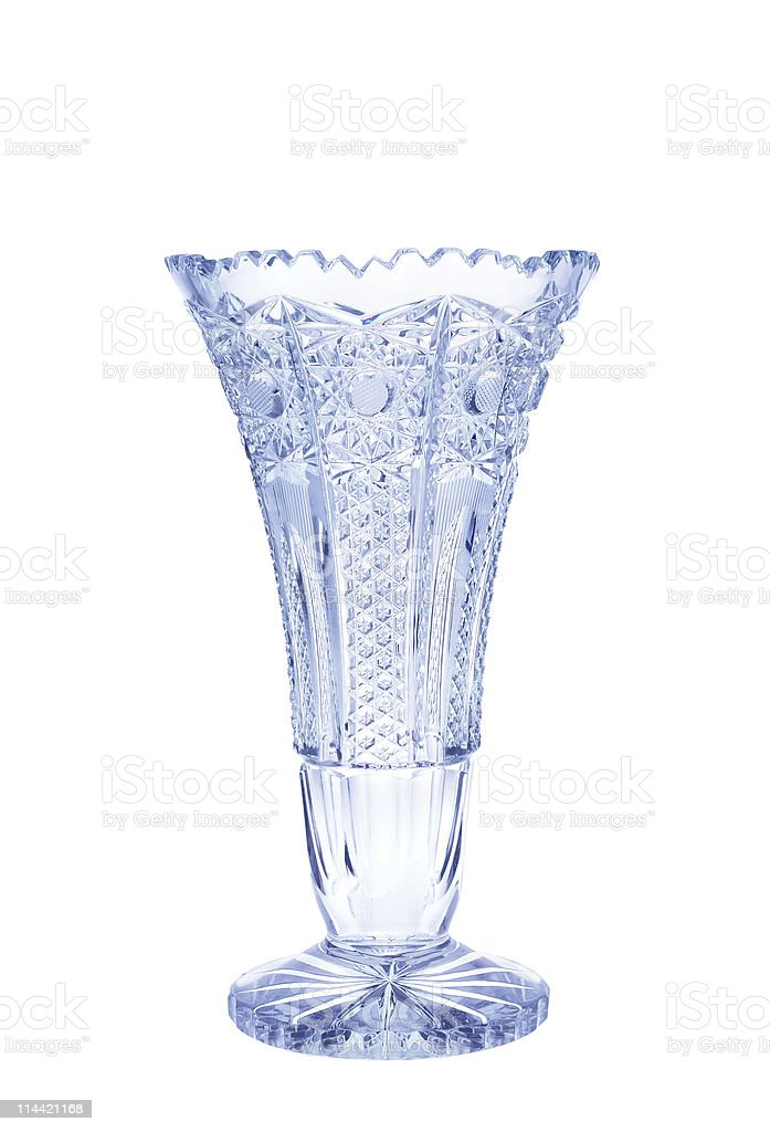 Antique vase - cut glass isolated on white background stock photo