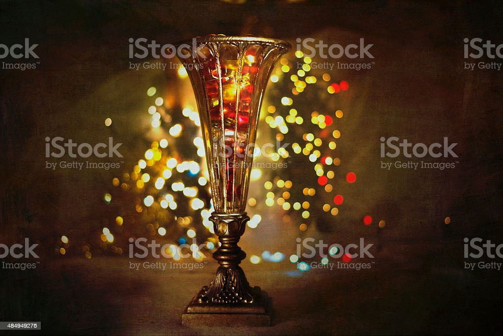 Antique Vase with Christmas Lights royalty-free stock photo